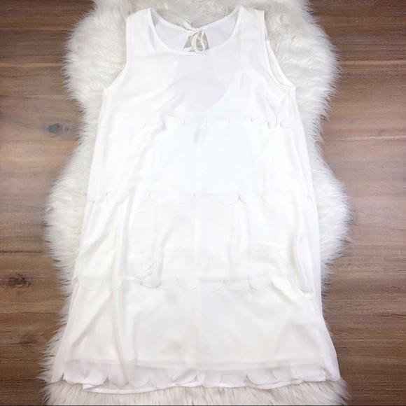 easel Dresses & Skirts - Easel Tiered Scalloped Sleeveless Dress White O768